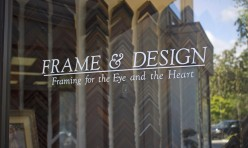 Frame & Design Shop Logo on Our Front Door